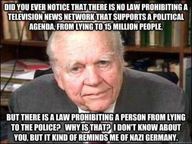"No law prohibiting a ""news network"" from lying..WE SHOULD HAVE A LAW FOR NEWS NETWORKS AND POLITICIANS!! YOU LIE, YOU ARE BUSTED!!!"