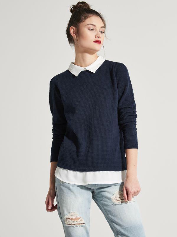 Sweter z koszulową podszewką, HOUSE