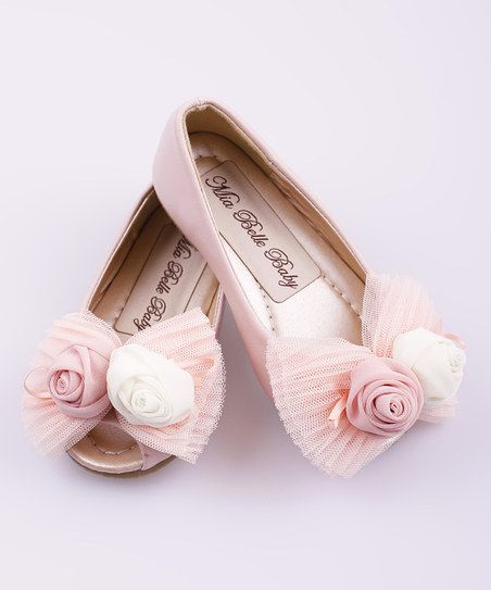 Pink Lace Rosette Peep-Toe Ballet Flat