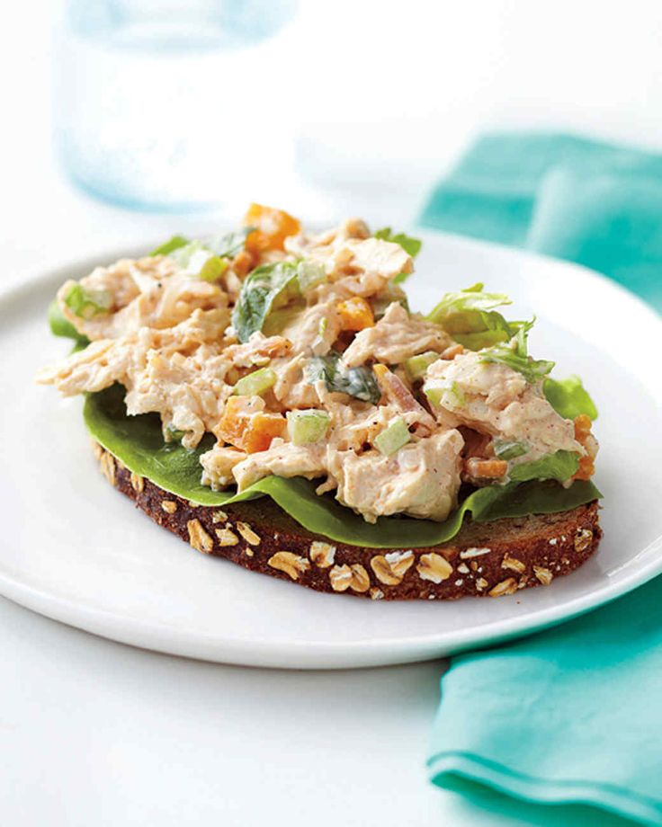 Apricot-Basil Chicken Salad | Martha Stewart Living - Slivered almonds, white onion, and celery provide a satisfying crunch in this flavorful chicken salad recipe that tastes great on toasted bread or crackers.
