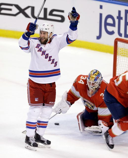 Rangers vs. Panthers:  March 7, 2017  -  he Rangers beat the Florida Panthers, 5-2, on Tuesday at the BB&T Center:      New York Rangers left wing Tanner Glass (15) celebrates after scoring against Florida Panthers goalie James Reimer (34) in the first period of an NHL hockey game, Tuesday, March 7, 2017, in Sunrise, Fla.