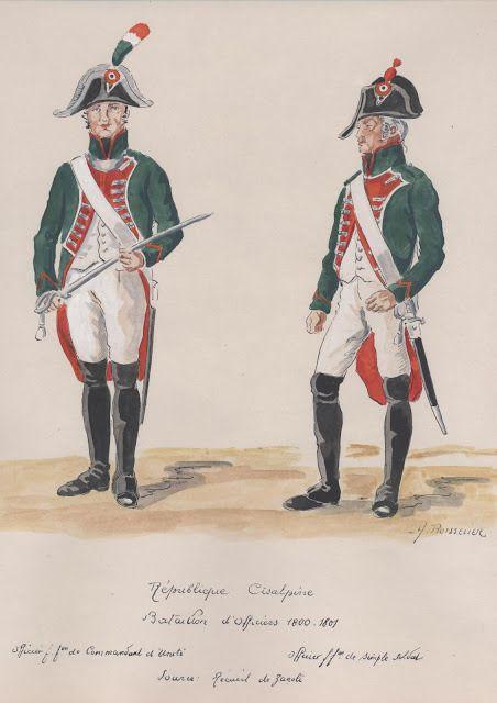 Republique Cisalpine; Bataillon d'Officiers 1800-1801.