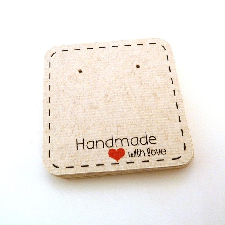 Earring Cards - Jewelry Cards - Stud Cards - 50 Count - 2 x 2 Earring Card - Custom Earring Cards. $11.00, via Etsy. - Love the dotted border with the pop of the red heart.