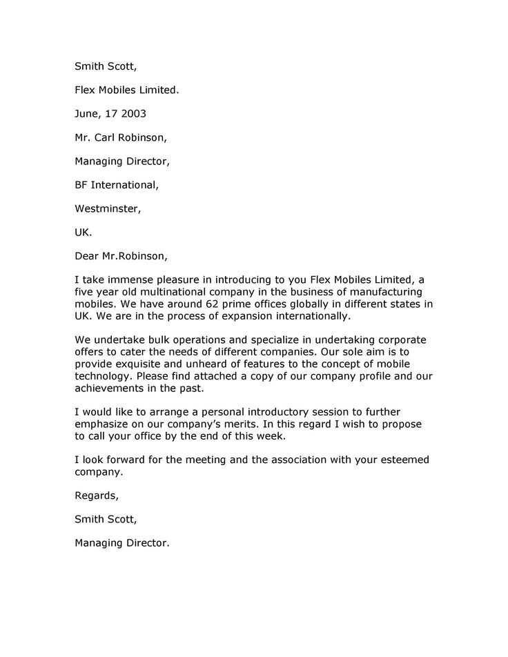 Business Introduction Letter Template in 2020 Business