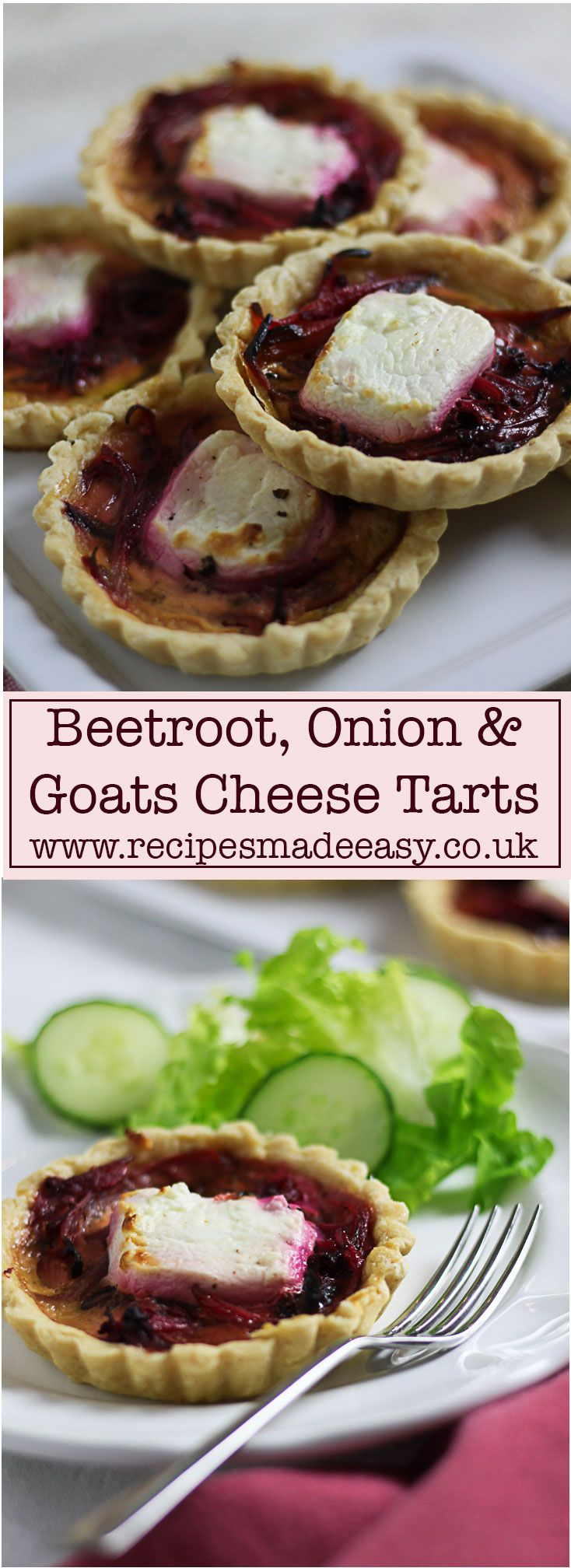 Easy to make beetroot, onion and goats cheese tarts by recipes made easy are perfect for lunch boxes, picnics, buffet table or as a dinner party starter. via @jacdotbee