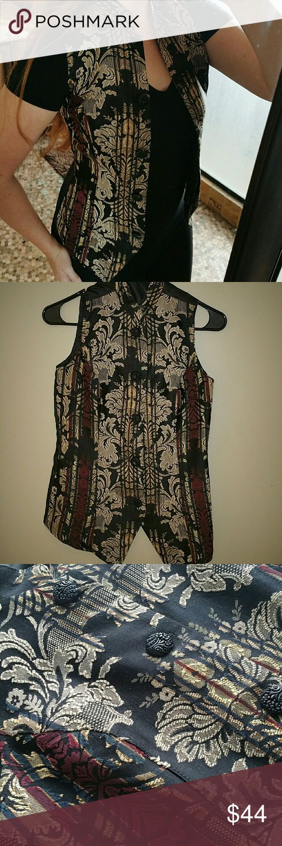 !! VINTAGE !! Asian Tapestry Vest This is a beautifully embroidered Asian tapestry vest! Ornate buttons and traditional collar.   This will look great buttoned up all by itself, or over a black short or long sleeve shirt. Pumps will pair great with this vest... perfect for a sushi date! Jackets & Coats Vests