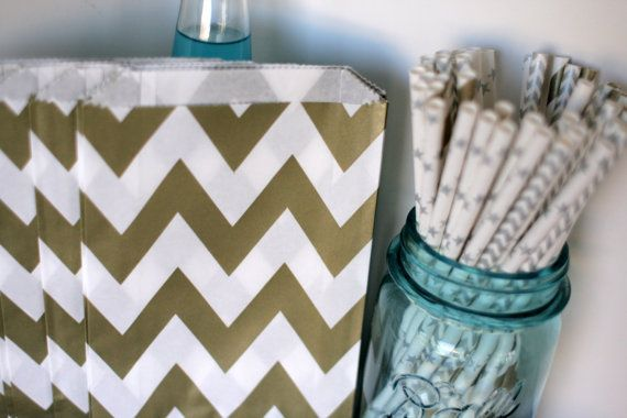 Gold chevron candy bags gold chevron party by talkingtwineandtrim, $2.50
