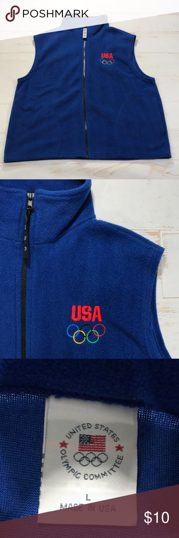 Women's U.S.A Olympic Committee blue Fleece Vest Women's Vintage U.S.A Olympic Committee Royal Blue Fleece Vest  Size Large (refer to measurements) Good condition! Pit To Pit: 22 inches Neck To Bottom: 23.5 inches  All measurements are taken with items laying flat!  If you have any questions please message me thanks!  Check out my other listings! Olympic USA Jackets & Coats Vests