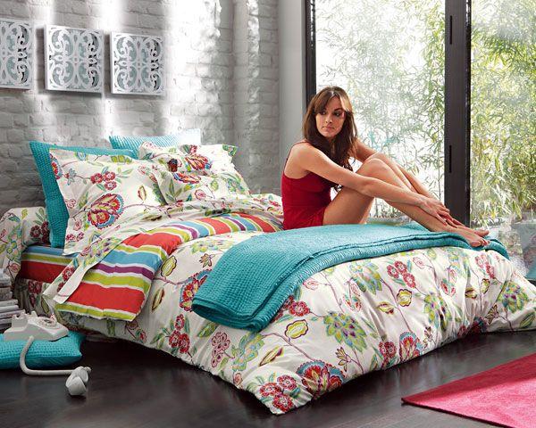 leChouchou.com - décoration - Linge de lit fleurs et rayures
