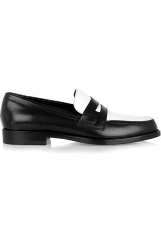 Two-tone leather penny loafers #slipons #covetme #saintlaurent