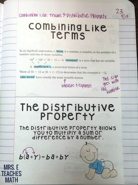 Distributive Property Foldable for Algebra 1 Interactive Notebooks | mrseteachesmath.com