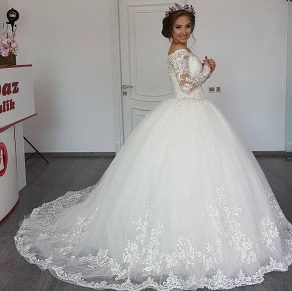 Discount Luxury Lace Ball Gown Wedding Dresses Off Shoulder Long