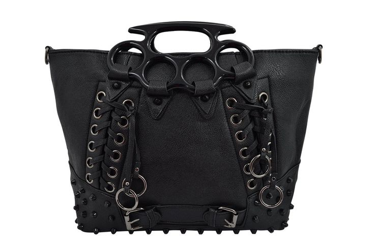 Goth Punk Rave Large Brass Knuckles Handles Black Tote Handbag This purse has a long shoulder strap, so you can carry it as a handbag or messenger style with a strap! Large enough to store small size laptop!