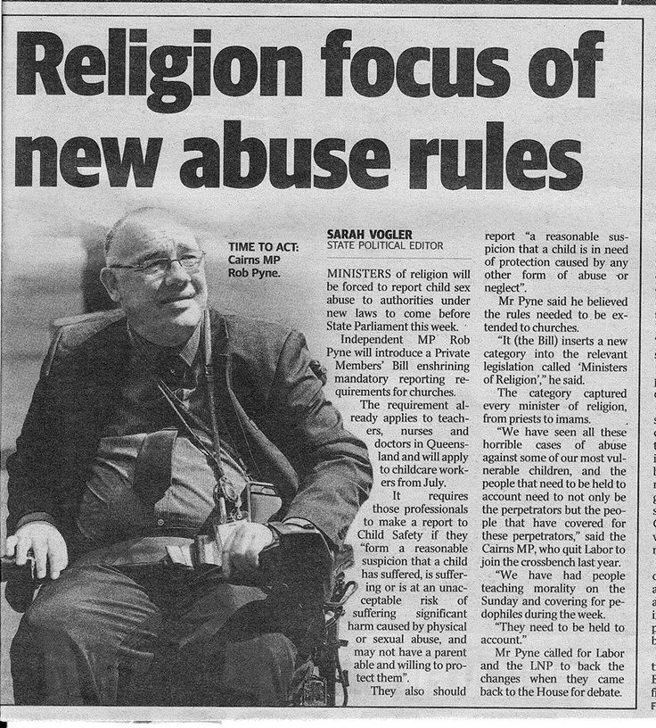 Today I moved a Bill to amend the Child Protection Act and the Education Act to impose the obligation of 'mandatory reporting' of sexual abuse (real or suspected) on ministers of religion (priest, pastor, bishop, rabbi, imam). Our laws must change and the abuse must stop! #PuttingChildrenFirst #qldpol