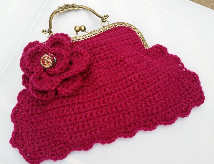 Little red crochet bag.