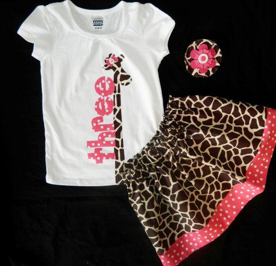 3 pieza de niña, niño onesie camiseta jirafa desgarbado, apliques número cumpleaños rosa, falda jirafa y chica de pelo arco NB - 16