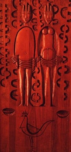 Ibeji - sculpture of Carybé in wood, exibit in the Museum Afro-Brazilian, Salvador, Bahia, Brasil