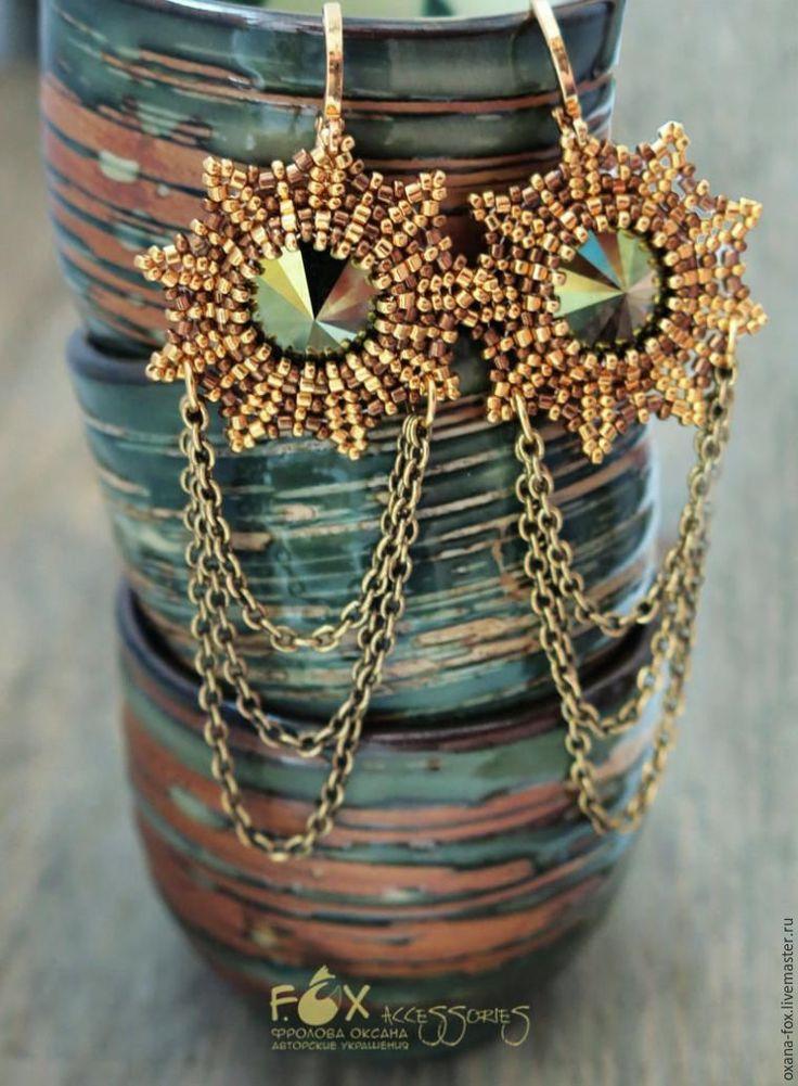 Оригинальное оплетание риволи на примере серег «Golden stars» - Ярмарка Мастеров - ручная работа, handmade