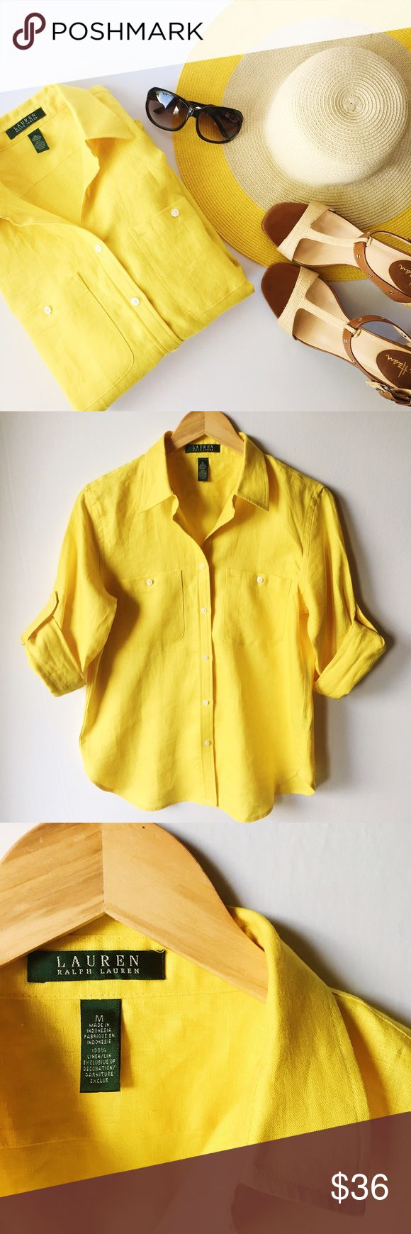 "LAUREN RALPH LAUREN Classic Linen Roll-Cuff Shirt Bright yellow 100% linen will go with everything and define classic summer like nothing else in your wardrobe. This airy linen shirt is an effortless, affordable style essential.  - EUC. Gently worn only a few times - 100% Linen - 2 Front Pockets with Buttons - Long sleeves with button barrel cuffs - Cuffs roll to the elbow and secure with button ups - Shirttail hem - Machine Washable - Measurements:  Length - 27""  Bust - 20"" across…"