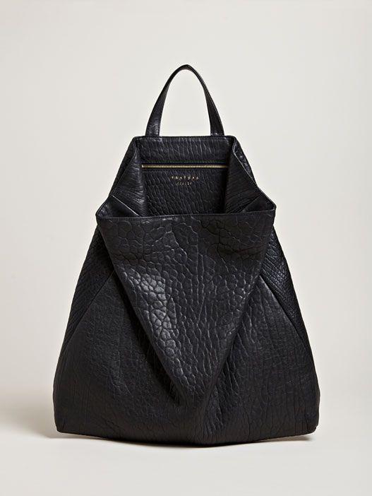 TSATSAS Unisex Fluke Shrunken Nappa Bag In Black