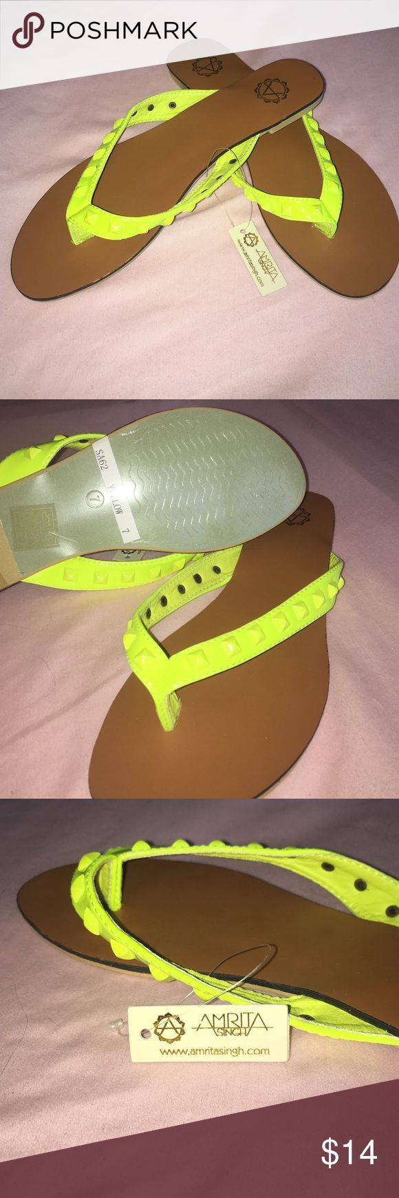 Studded beauties. Brand new. Neon yellow sandals. Step into spring and summer with these bright sandals. Brand new with tag. Studded neon yellow slip ons. Amrita Singh Shoes Sandals
