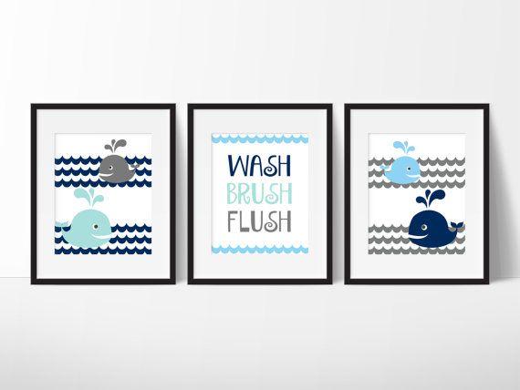 Whale Bathroom Whale Art Kids Bathroom Rules Wash Brush Flush Kids Bathroom Art Whale Print Kids Bathroom Decor Set Of 3