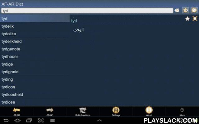 Afrikaans Arabic Dictionary  Android App - playslack.com , This is Afrikaans - Arabic and Arabic - Afrikaans dictionary; Afrikaans - Arabies en Arabies - Afrikaans woordeboek / قاموس أفريكاني عربي و عربي أفريكاني. The Application works OFFLINE and does not need the internet connection.Database will be downloaded when the application is run first time. We recommend you to use Wi-Fi connection. Main features:1. History – every article you've ever viewed is stored in history.2. Favorites – you…