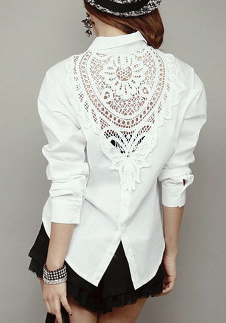White Lace Panel Shirt - Top