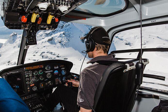 Over the top pilot, landing. Destination Heli weddings Queenstown.