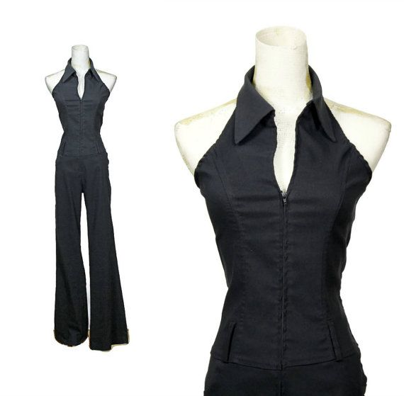 Black 70s Disco Jumpsuit Vintage Bell Bottom One Piece