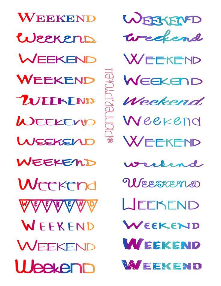 @planner.PICKETT: Free Weekend Planner Printable Stickers for the ERin Condren , Happy Planner , Limelife, Plum Planner Kikki K planner and more!