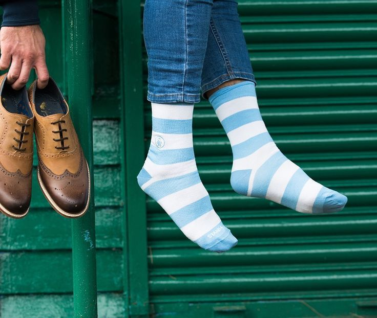 Ethically Sourced Baby Blue and White Bamboo Socks