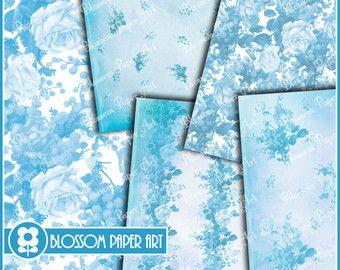 Light Blue Roses Collage Sheet Flowers, Digital Scrapbooking Pack, Decoupage, Digital Paper - Printable - DIY - 1627