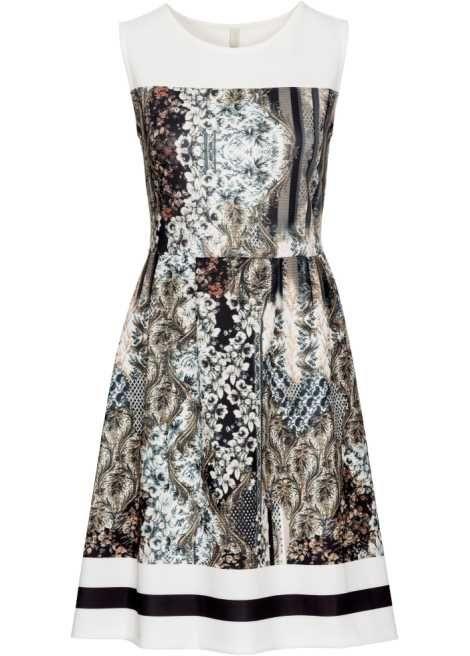 Jetzt anschauen: Femininer City-Chic! Scuba-Kleid in Knielänge mit stylischem Print und farblich abgesetztem Saum. Länge in Größe 36/38 ca. 94 cm.