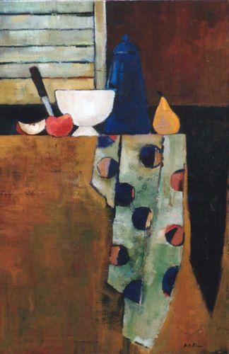 BENEDICTE GARNIER FIHEY  Cafetière bleue et tissu à pois.Numéro 19Huile sur toile199560 x 90 cm