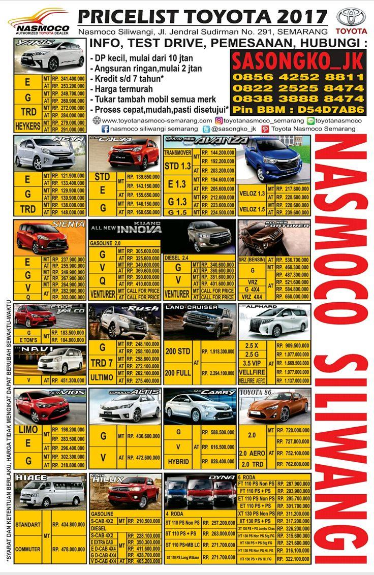 Pricelist Toyota Semarang Januari 2017 - untuk info terbaru bisa hubungi 0856 4252 8811