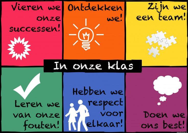 Leuke en correcte slogans die een kleurrijk plaatsje kunnen krijgen in de klas.