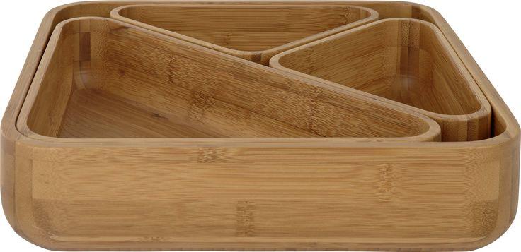Beatrix 4in1 bollesett i bambus. Dimensjoner største bolle: 30x30cm. Kr. 595,-