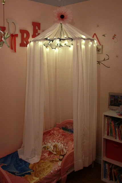 no sew DIY: Little Girls Bed Canopy with Lights I know a Special Little  Girl who would love this!!! | kids | Pinterest | Sewing diy, Canopy and  Lights