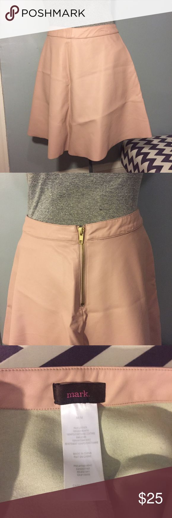 """Blush Faux Leather Skater Skirt Crazy cute """"get in the swing"""" skater skirt from Mark. by Avon. Perfect condition and super pretty blush color with exposed gold zipper in back. Avon Skirts Circle & Skater"""