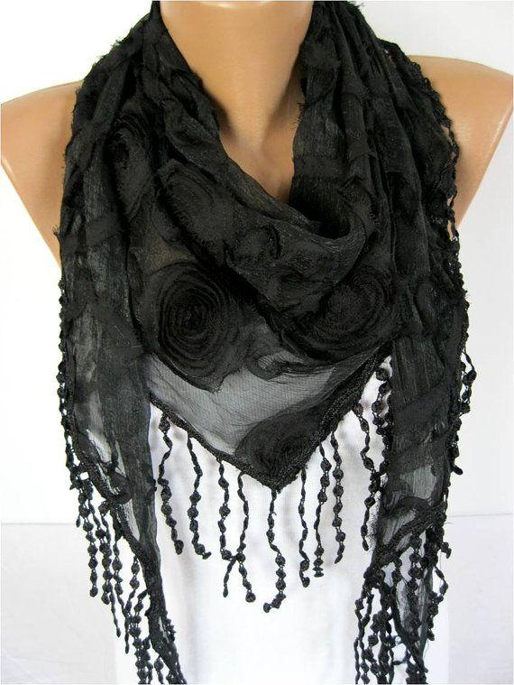Black scarf women fashion scarf by MebaDesign
