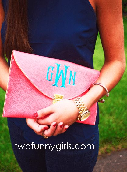 love all of these Monogram Clutch Purses