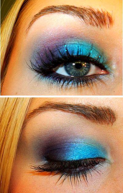 :)Colors Combos, Pretty Eye, Eye Makeup, Bright Eye, Eye Shadows, Purple Eyeshadow, Eyeshadows, Eyemakeup, Blue Eyeshadow