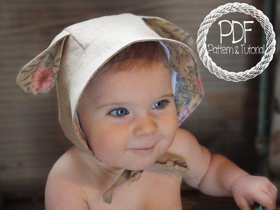 Ear Bonnet Sewing Pattern, Reversible Baby Bonnet, Deer Ear, Lamb Ear, Kangaroo, Instant Download, Sun Bonnet, Baby Bonnet Pattern, PDF