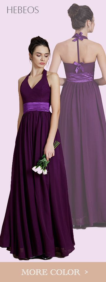 HEBEOS style 72019. 2018 A-Line Halter Floor-Length Chiffon Bridesmaid Dresses is made-to-order by professional tailors. You can choose from 28 colors and sizes 2 to 16W. The dress details: Slihouette: A-Line/Princess; Fabric: Chiffon; Neckline: Halter; Sleeve: Sleeveless; Embellishment: Sash/Ribbon/Belt; Back Style: Other; Hemline Train: Floor-Length; Shown Color: Grape