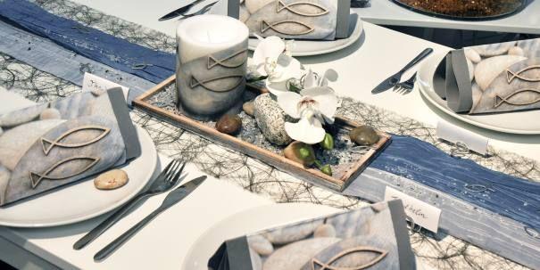 Tischdekoration zur Kommunion/Konfirmation in Grau/Blau mit Fisch