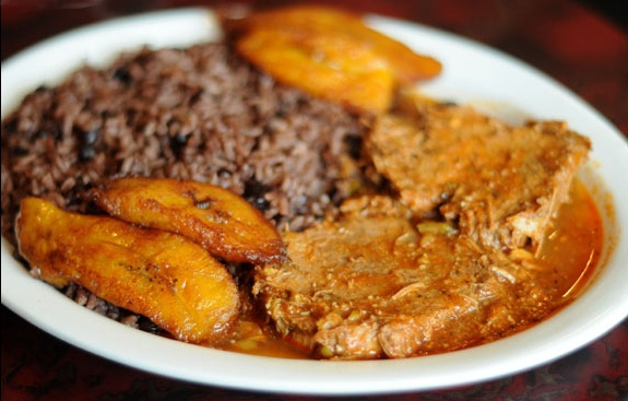 Cuban food.. Boliche, moro and sweet plantains.