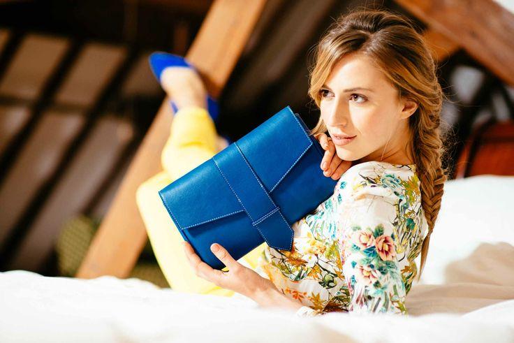 Blue Leather Clutch Handbag www.bettyandbetts.com