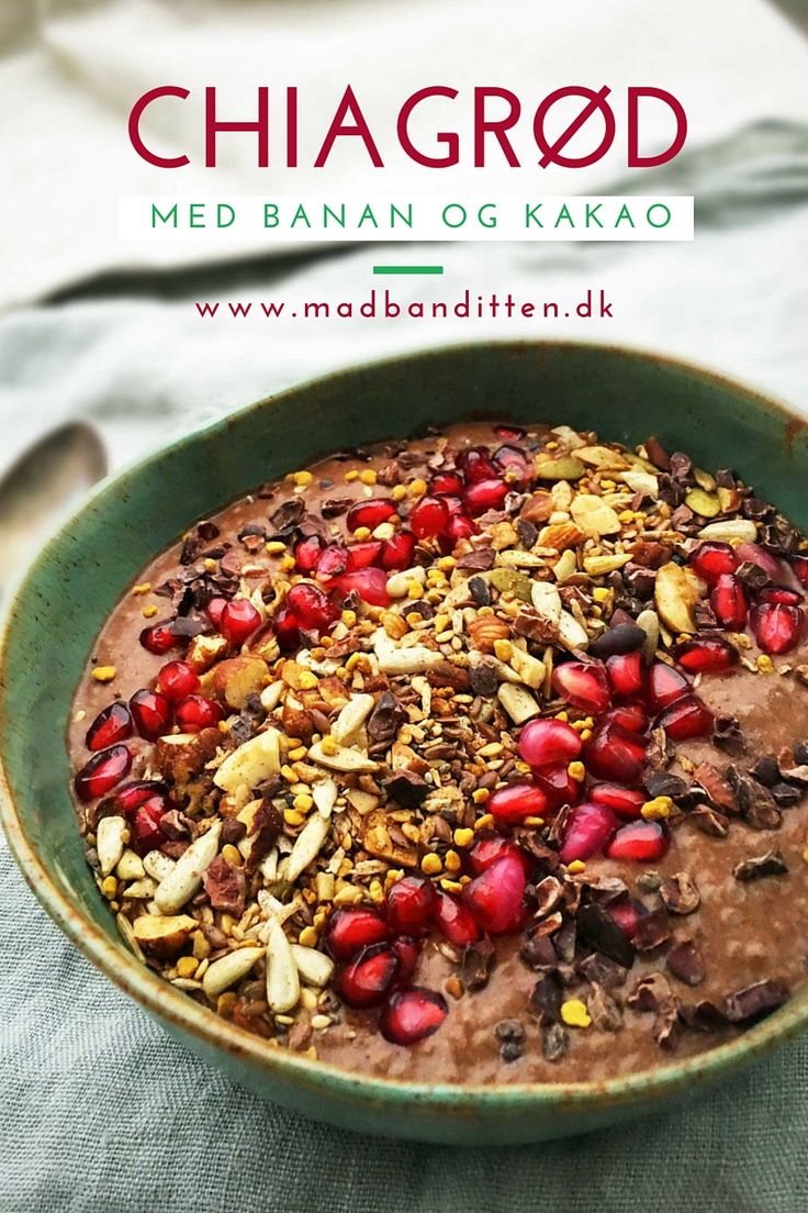 Kakao-chiagrød med banan - lækker morgenmad - mælkefri, glutenfri, sukkerfri opskrift --> Madbanditten.dk