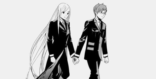 Dude, are they seriously holding hands....this looks like official manga art lol, that's adorable | Kazuma and Bishamon | Noragami